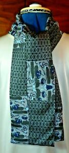 100% silk men's cravat/scarf/ascot Liberty print pieced fabric Black/grey  NEW