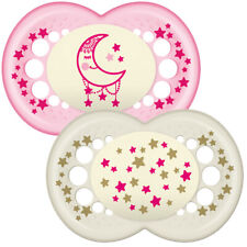 MAM Night Glow in The Dark Soother Dummy - Pink White Baby 12 Months 2pk