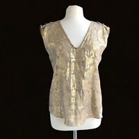 ALICE & TRIXIE Women's Size M Metallic Sleeveless Silk Blouse