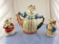 Vintage 1988 1.5 Qt Fitz & Floyd Kittens Of Knightsbridge Teapot,Creamer &Sugar