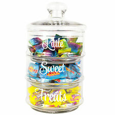 Vintage Stackable 3 Piece Glass Storage Jar Lid Sweets Cookies Wedding Favours