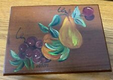 Vintage Playing Card Box Fruit Painted Wood 2 Deck Slots Signed Hardy