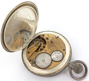 RARE ONLY 8,000 MADE / c1898 WALTHAM 14S 11J STERLING SILVER POCKET WATCH.