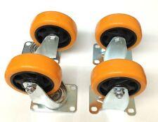 (4) Heavy Duty 4 Inch Caster Plate Polyurethane 2 Swivel and 2 Fixed Wheels