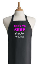 Funny Black Cooking Apron Born To Shop, Chef Bib Aprons, Funny Kitchen Aprons