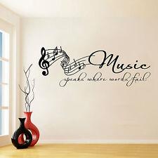 Music Speaks Where Words Fail Sticker Autocollant Mural Transfert Vinyle