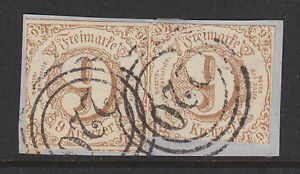 Thurn & Taxis Sc 55 used 1862 9k pair on small piece