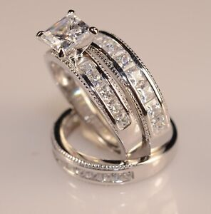 2.90CT White Princess Channel Set Diamond Trio Ring Set In 925 Sterling Silver