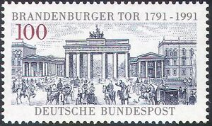 Germany 1991 Brandenburg Gate/Architecture/Horses/Carriages/Transport 1v n25076