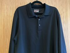Grand Slam Performance Polo Shirt, Black With Long Sleeves Size Xl