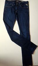 REPLAY BLONDY LOW SLIM STRAIGHT JEANS 28 LONG L 34 BLUE STRETCH DENIM DESIGNER