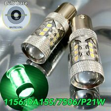 Rear Turn Signal Light 1156 BA15S 3497 1141 7506 P21W 80w LED Green Bulb W1 E E