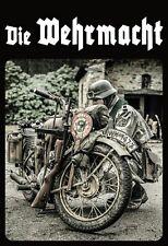 Die Wehrmacht Deutscher Kradmelder Soldat Blechschild Schild Tin Sign 20 x 30 cm