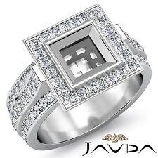 Princess Semi Mount Diamond Engagement Halo Channel Bezel Ring Platinum 1.65Ct