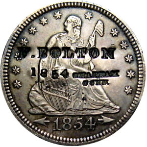 1854 Chatham Connecticut Counterstamp Seated Quarter F Bolton