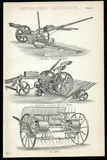 "AGRICULTURAL IMPLEMENTS 1883 Hornsby's ""Paragon"" Mower ANTIQUE LITHOGRAPH #5"