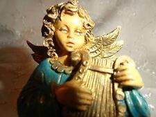 Angel Figure VTG Italian Plastic Hand Painted Italy Blue & Gold Holds Lyre #5047