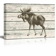 Sketched Drawing of a Moose on a Rustic Background - Canvas Art - 12x18 inches