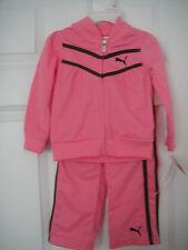 PUMA NWT Girls 2PC Set Track Suit Jacket Pants Top Warm Up Zip Pink Brown 2 2T