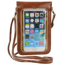Brown Crossbody Shoulder Bag Phone Pouch Case for Apple iPhone 8 Plus/HTC U12+
