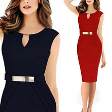 Womens Celeb Keyhole Business Cocktail Party Work Bodycon Sheath Pencil Dress