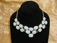 """Simulated Moonstone Necklace w/ Silver settings & silver chain appox. 18"""""""