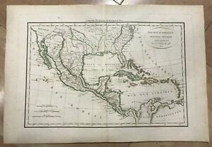 NEW SPAIN NEW MEXICO LOWER CALIFORNIA 1812 by DELAMARCHE ANTIQUE ENGRAVED MAP