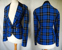 Vintage Jacket 40's Tartan Steampunk Edwardian Riding Plaid Blue 8 10 36 38 US 6