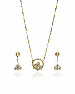 Swarovski Bee A Queen Gold Tone Czech Crystal Necklace & Earring Set 5490887