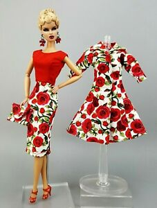 Red Rose Coat Gown Dress Outfit Clothes Bag For Silkstone Fashion Royalty FR