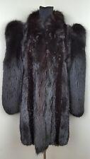 DARK BROWN DYED MINK FUR COAT with FOX Sleeves Collar Stroller Jacket size S/M