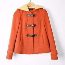 Miss Selfridge Duffle Coat Jacket Orange UK8 Small Hoody 90s Style Retro Mod