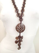 "New Dark Brown Coconut Shell Wood Beads 30"" Long Necklace Pendant"