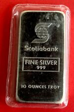 Johnson Matthey JM Scotiabank 10 oz .999 Silver Bar - Blast White - Sealed!!