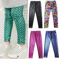 4-13Y Kids Girls Fish Scale Mermaid Skinny Leggings Elastic Long Pants Trousers