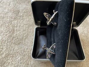 Cufflinks Silver Coloured Spitfires, Box Marked R A F. NEW
