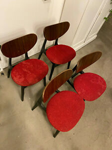 4 x G Plan E Gomme Librenza Butterfly chairs in original red fabric Mid Century