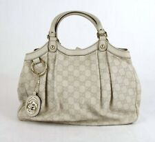 Gucci Sukey Ivory Guccissima Leather Hobo Shoulder Bag with Keychain 211944