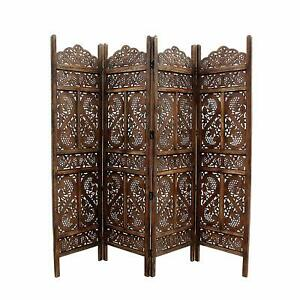 Handcrafted 4 Panel Wooden Room Partition & Room Divider (Brown)