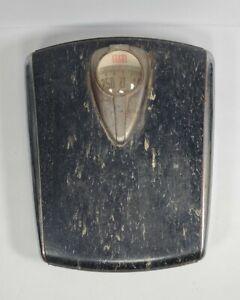 Vintage 1950s Mid Century Black & Chrome Borg Bathroom Scale W/Set Zero Dial