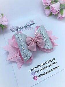 Hair Bow, Handmade Hair Bow, Pink Bow, Pink And White.