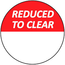 30mm Bright Red Reduced To Clear Stickers / Sticky Labels / Swing Tag Labels