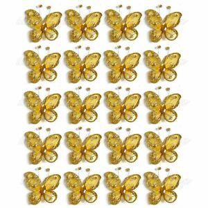 "US Lot of 20PCS 2"" Organza Butterflies Craft Wedding Party Decoration DIY Choose"