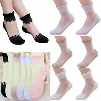 Vintage Ladies Sheer Mesh Lace Dots Knit Flower Frill Trim Ankle Socks Girl Gift