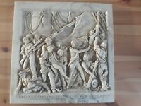 MARBLE RELIEF CAST DECORATIVE PLAQUE'BATTLE OF TRAFALGAR - DEATH OF NELSON'