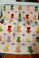 Sunbonnet Sue Quilt Hand Quilted & Hand Appliqued 64 x 86 In