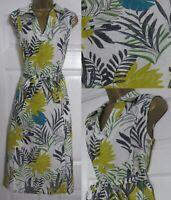 NEW Ladies Laura Ashley Linen Dress Tropical Leaf Print Midi Summer Belted 8-20