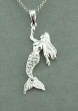 925 Sterling Silver Mermaid Necklace  Cubic Zirconia Jewelry NEW