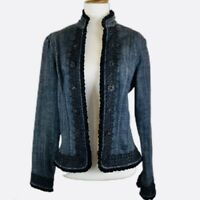 Chicos Platinum Denim Jean Jacket Size S/4 Black Velvet Trim Crystal Buttons