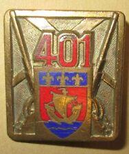 Insigne 401° Régiment d'Artillerie Antiaérienne, émail, guilloché doré